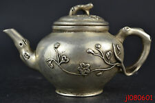 China Beautiful Collectible Decor Copper Silver Plate Carve Flower Noble Teapot