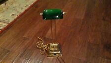 Bankers Lamp Green Glass Shade Brass Desk Student Piano Light Tilting Adj. Neck