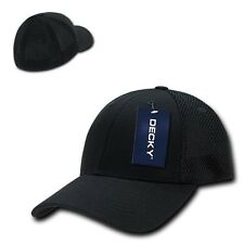 Black Solid Flex Low Crown Cotton Mesh 6 Panel Baseball Golf Fit Fitted Hat Cap
