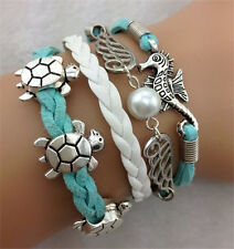 Infinity Hippocampus turtle Friendship Antique Silver Leather Charm Bracelet  01