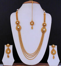 Indian Traditional Necklace Jewelry Kundan Gold Plated Ethnic Bollywood Set