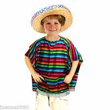 CHILDS BOYS GIRLS MEXICO MEXICAN PONCHO COWBOY GRINGO FIESTA FANCY DRESS COSTUME
