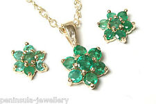 9ct Gold Emerald Cluster Pendant and Earring Set Boxed Made in UK