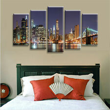 Panels Brooklyn Bridge Canvas Print Wall Art Painting Picture Home Decor Unframe