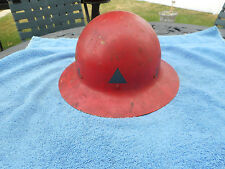 "WORLD WAR II CIVIL DEFENSE HELMET US GOVT PROPERTY OCD ""44"" RED METAL HELMET"