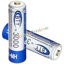 2x AA battery batteries Bulk Nickel Hydride Rechargeable NI-MH 3000mAh 1.2V BTY