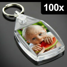 100x Clear Acrylic Blank Keyrings Key Fobs 35 x 24 mm | Small Size Photo