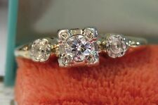 14K ANTIQUE VINTAGE ART DECO FLORAL OLD EUROPEAN DIAMOND ENGAGEMENT WEDDING RING