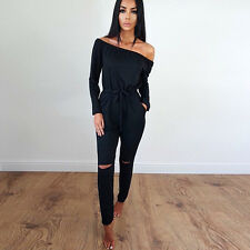 Womens Off Shoulder Playsuit Ripped Knee Jumpsuit Long Romper Overalls Tracksuit