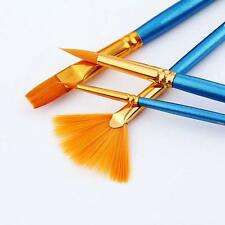 4Pcs Artists Paint Brush Set Acrylic Watercolor Round Pointed Tip Nylon Hair