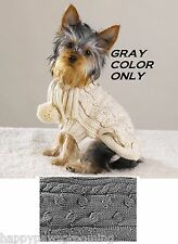 Casual Canine Dog PURE WOOL CABLE RIB KNIT GRAY SWEATER w/SCARVE Jacket Coat*LRG