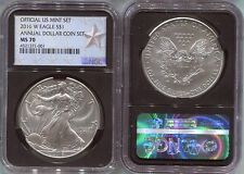 2016-W  burnished  ANNUAL DOLLAR SET  SILVER EAGLE - NGC MS70 - WEST POINT LABEL