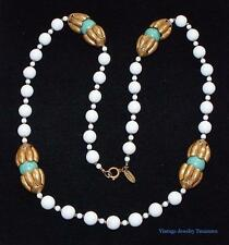 Vintage Signed Miriam Haskell White Turquoise Glass Brass Necklace