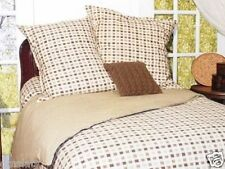NEW Park B. Smith Eco Vegetable Die Tan Checkered Comforter Set Bedding Twin