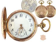 Jugendstil 585 Rose Gold mechanische Herren Sprungdeckel Taschenuhr 55 mm antik