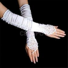 14'' White Stretchy Satin Bridal Wedding Lace Fingerless Gloves Opera Evening