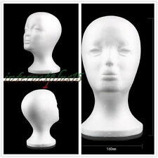 Female Styrofoam Mannequin Manikin Head Model Foam Wig Hair Glasses Display BHT