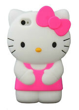 For IPhone 5 5S 5C 3D Hello Kitty Soft Silicone Case Cover - Hot Pink