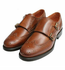 *NEW* LADIES ITALIAN Brown Tan Double Buckle Monk Brogues 8 Rubber Sole Shoes