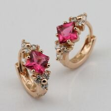 Beautiful Red Ruby Fashion Jewelry Gift Rose Gold Filled Huggie Earrings er595