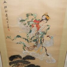 LARGE CHINESE GEISHA GIRL BONSAI TREE WATERCOLOR ON SILK PAINTING SIGNED