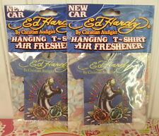 2 ED HARDY By Christian Audigier HANGING T-SHIRT AIR FRESHENER - NEW CAR SCENT