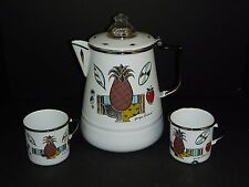 Vtg Mid Century Georges Briard Enamel Coffee Pot & 2 Cups Mugs Ambrosia Design