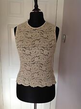 Marks & Spencer Size 14 Cream lace flower design vest top.