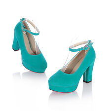 Womens Round Toe Platform High Block Heels Buckle Strappy Mary Jane Pumps Shoes