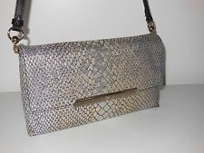 CHRISTIAN LOUBOUTIN SILVER ROUGISSIME EMBOSSED LEATHER CLUTCH BAG