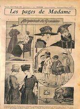 Robe-Manteau Velours de laine Tunique Mousseline Mode Fashion Croquis WWI 1916
