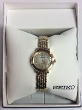 SEIKO New Women's TRESSIA Gold Tone Solar Powered MOP Dial Diamond WATCH SUP356