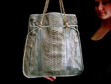 "EXQUISITE KATE SPADE ""COLLECT"" RARE KYLIE RIO SNAKESKIN POSH TOTE WASHED GREEN"