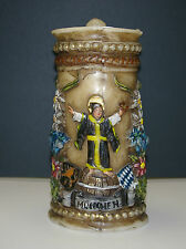 RARE!!! VINTAGE REUGE CARVED WAX BEER STEIN MUSIC BOX CANDLE FROM MUNICH GERMANY