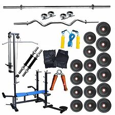 Fitfly Brand New 20 in 1 Bench Home Gym Set 66kg Weight, 5FT Plain,3FT Curl Rod