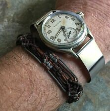 Thin steel cuff watch band 16mm 1940s vintage NOS for spring bars or fixed lugs
