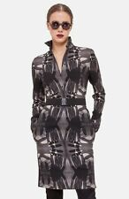 Akris Punto Print Wool Shirt Dress in Black - Size 4 NWT $1,390