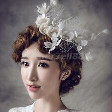 Bridal Ivory Linen Fascinator Flower Pearl Hair Barrette Bird Cage Veil Clip