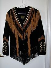 Sz 12 MED Western Native Style Real Leather Suede Jacket Fringed Beaded Coat
