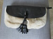 Juicy Couture Black Leather Nude Cream Fur Clutch Fringe Wristlet
