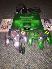 Nintendo 64 Jungle Green Console BUNDLE!! 2 Controllers, 4 Games! TESTED & WORKS