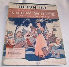 """1938 """"Heigh - Ho"""" Sheet Music from Snow White and the Seven Dwarfs"""
