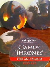OMMEGANG Game of Thrones FIRE & BLOOD RED ALE Beer Coaster Complete SET OF 3 HBO
