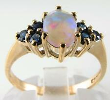 VIBRANT VICTORIAN 9K AAA OPAL & BLUE SAPPHIRE RING