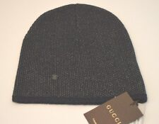 New Gucci 352350 Men's Navy  Beige Wool Cashmere Beanie Ski Winter Hat Large