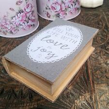 SECRET WOODEN BOOK STORAGE TRINKET BOX PRETTY BEDROOM GIFT