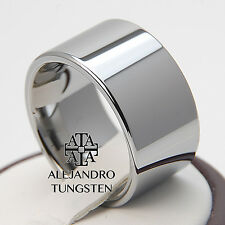 Tungsten Ring Men's Wedding Band 12MM Wide Exciting Polished Size 13.5