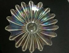 """Vtg MCM Federal Glass 11"""" Clear Iridescent Scalloped Edge Fruit Console Bowl"""