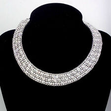 HOT DL02 Silver fashion 3 row of the crystal 4 rows of alloy Bib short necklace
