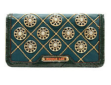 New Nicole Lee® CHRISSY, Floral Quilted Organizer Wallet-Teal Blue Wristlet